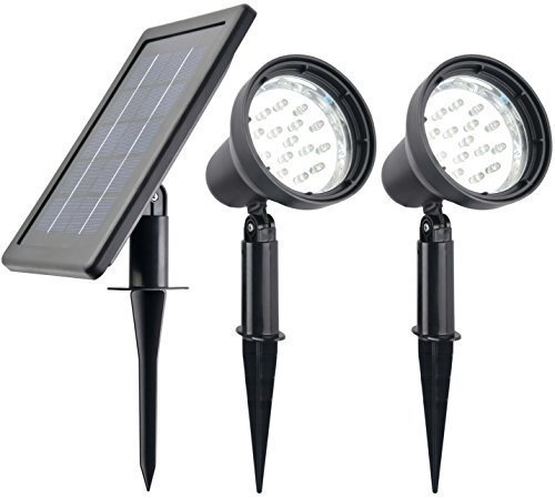 Double Solar Spotlight (Robust NATURAL WHITE (NOT BLUISH) Solar Spotlights (Set of 2) // HUGE 3W Solar Panel // DOUBLE CAPACITY 4000mAh Lithium Battery // HEAVY DUTY 2X15 LED Spotlights - 2X16 Ft Cable // POWER ADJUSTABLE)