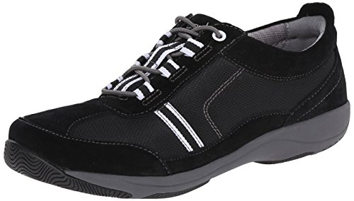 Dansko Women's Helen Fashion Sneaker, Black/White Suede, 39 EU/8.5-9 M US