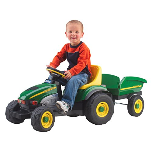 Riding Toy Tractors (Tough Durable Kids Toddlers John Deere Pedal Powered Tractor With Trailer Riding Toy- Let your Little Farmer Get Started Harvesting The Back-Forty- Tough Durable Resin Pedal Car Provides Hours Of Fun)