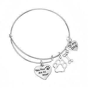 amazon com dog charm bracelet paw print jewelry dog lovers