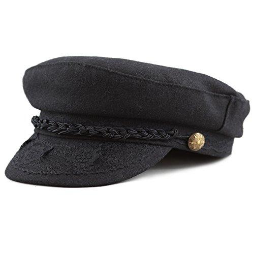 THE HAT DEPOT 1400CD1970 Winter Unisex 100% Wool Greek Fisherman's Hat (L/XL, Black)
