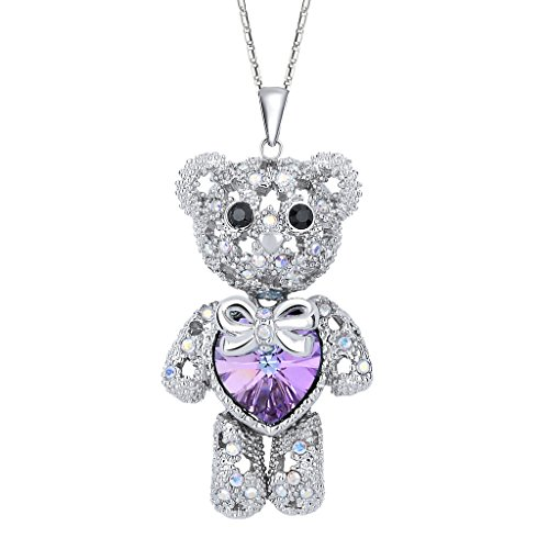 EleQueen Womens Silver-Tone Love Heart Bear Pendant Necklace Adorned with Swarovski Crystals