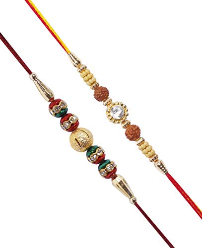 Set of 2 Rudraksha Rakhi for Brother Raksha Bandhan Traditional Rakhi Indian Hindu Festival by The StoreKing Rakhi