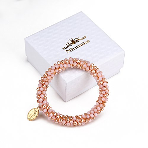 Niumike Braided Crystal Bracelets For Women,100% Hand-Made Seed Beaded Bracelet,Free Gift Box (Pink) (Bracelet Gift Free Box)