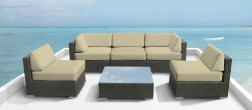 Luxxella Outdoor Patio Couch Wicker Furniture 6pc All Weather Sofa Bella 6 Set LIGHT BEIGE