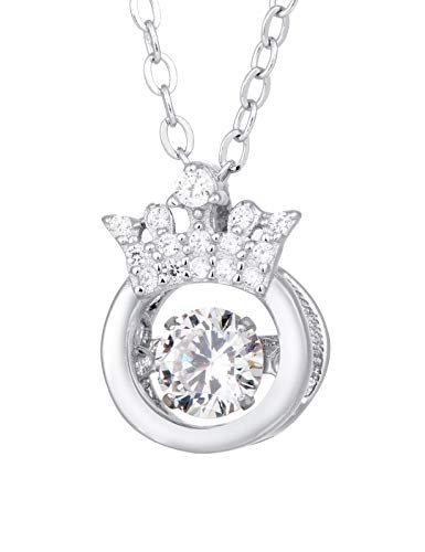 Ilikie s925 Sterling Silver Necklace and Pendant Platinum Plated AAA Zirconium for Women and Girls (Shining Crown)