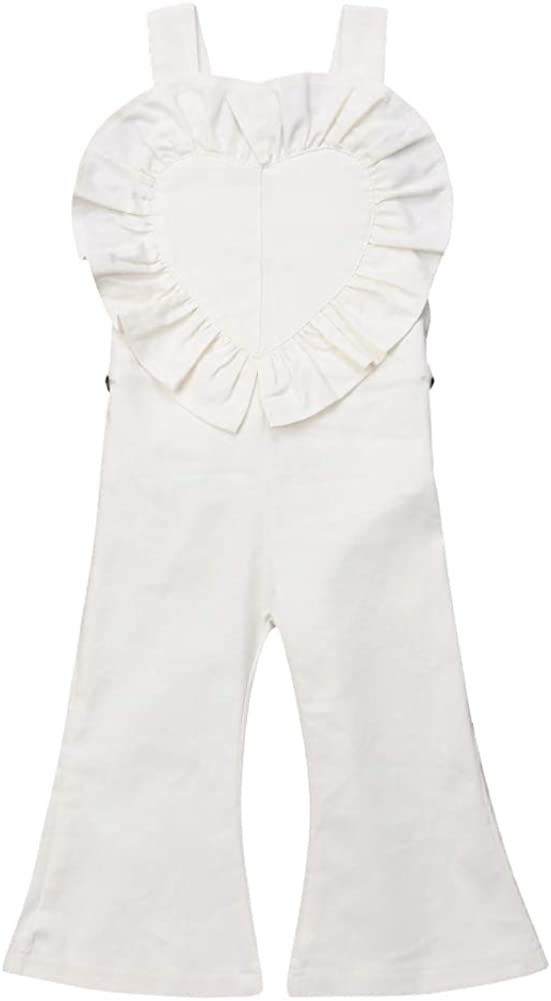 Baby Little Girls Solid Color Love Heart Overalls Ruffle Bell-Bottom Suspender Pants
