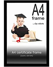 Clay Roberts A4 Black Photo Frame, Picture Frame, Certificate Frame, Freestanding and Wall Mountable