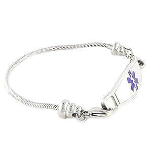 """N Style ID Women's Beaded Pan-dorra Style PRE-ENGRAVED """"Type 2 Diabetes"""" Medical Id Bracelet - Purple 7.75"""