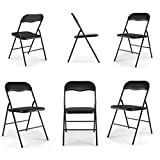 Black Plastic Folding Chairs Tobbi 6-Pack Commercial White Plastic Folding Stack-able Wedding Party Event Chair Black