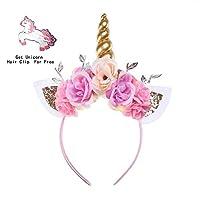 Unicorn Headband Photo Props Cat Ears Shiny Unicorn Gold Horn Flower Headdress for Girls Adults Cosplay Costume Birthday Party Favor (Gold)