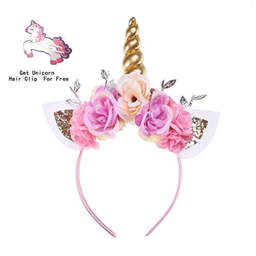 Unicorn Headband Photo Props Cat Ears Shiny Unicorn Gold Horn Flower Headdress for Girls Adults Cosplay Costume Birthday Party Favor (Gold) ()