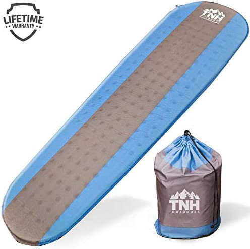 TNH Outdoors Premium Self Inflating Sleeping Pad Lightweight Foam Padding and Superior Insulation Great for Hiking Camping Thick Outer Skin