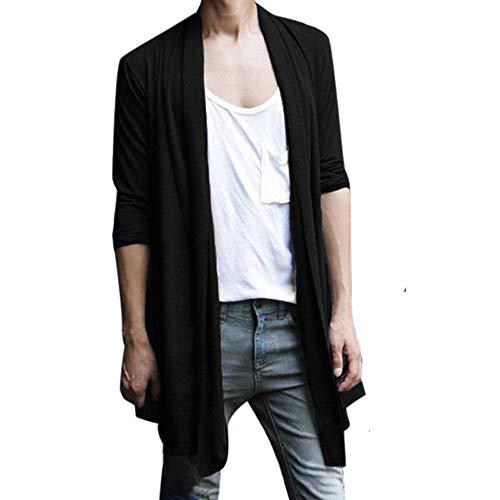 Escudo Cárdigan Schwarz Larga Sólido Hombre Hombres Color Cardigan Capa Prendas Abrigo Vestir Ropa Abierta Exteriores Elegante Punto Del Ocio Manga Los De La Chaqueta qCgrqaw