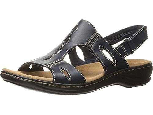 Navy Blue Leather Strap - CLARKS Womens Leisa Lakelyn Open Toe Casual Ankle Strap, Navy Leather, Size 6.5