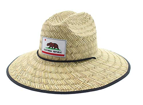 JFH Pierside California Republic Bear State Flag Wide Brim Straw Sun Beach Hat w/Chin Cord (S CA Bear White)
