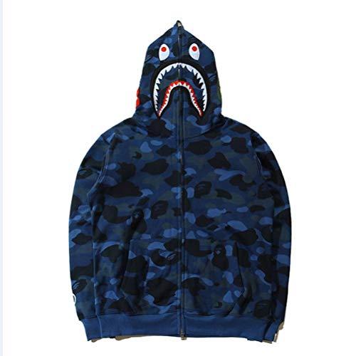 Price comparison product image Bathing Ape Bape Shark Jaw Camo Full Zipper Hoodie Men's Sweats Coat Jacket Thicken (Color:1, S)