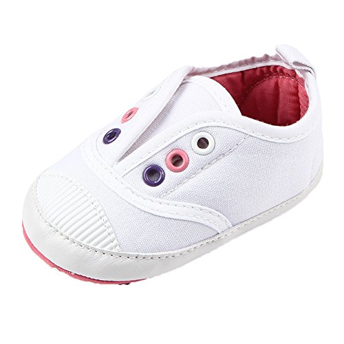 FireFrog Baby Girls Boys Newborn Infant Toddlers Casual Canvas Soft Soled Sneakers White 6-12Month