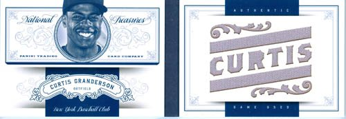 2012 Playoff National Treasures Authentic Curtis Granderson Big Piece Game Worn Jersey Book