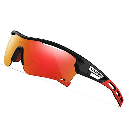 TOREGE Polarized Sports Sunglasses with 3 Interchangeable Lenes for Men Women Cycling Running Driving Fishing Golf Baseball Glasses TR33 Storm Chaser (Matte Black&Red&Red Lens) (Lens Interchangeable Matte Golf)