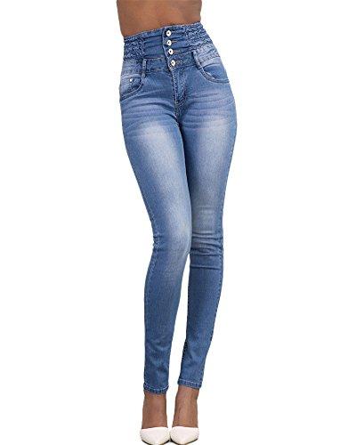 Jeans Kasen Denim Femme Taille Slim Collant Leggings Haute Pantalons Bleu Clair Crayon cBHtaT7B