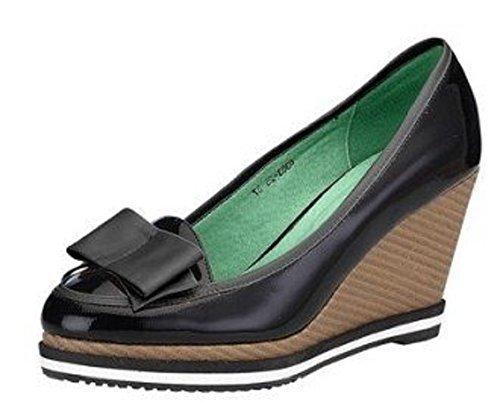 cuero de Patrizia negro Dini Zapatos mujer de para Pumps negro vestir AAZqpaw