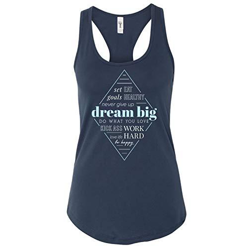 - GOMOYO Women's Motivational Dream Big Indigo Racerback Workout Tank Top (Large, Tank - Indigo)