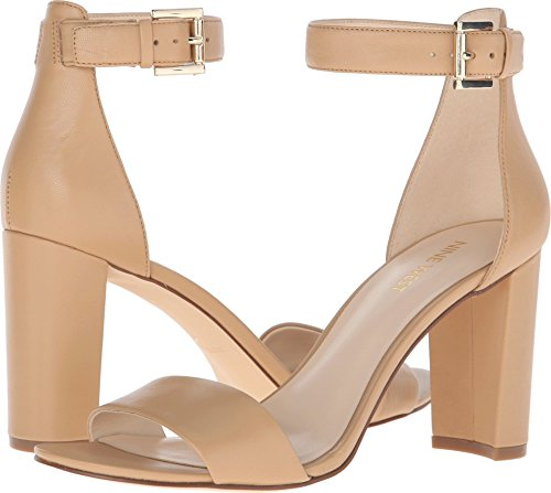 (Nine West Women's Nora Leather Dress Sandal, Light Natural Leather, 10 M US)