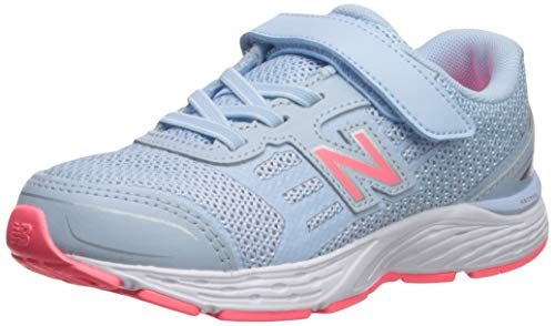 New Balance Girls' 680v5 Hook and Loop Running Shoe, air/Guava, 4 W US Big Kid