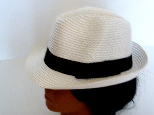 Woven fedora hat straw design fedora unisex (white)