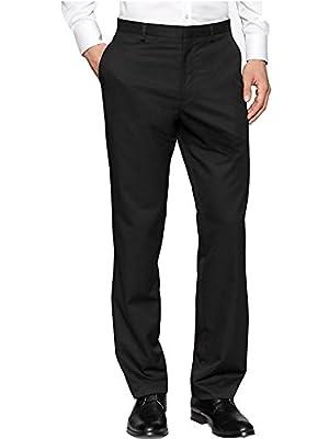 Calvin Klein Signature Black Pinstripe Signature Flat Front Straight Fit Dress Pants-30x32