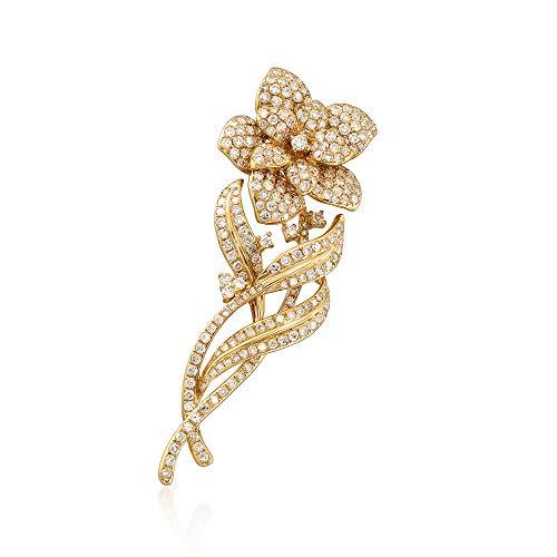 (Ross-Simons 2.80 ct. t.w. Diamond Flower Pin Pendant in 18kt Yellow Gold)