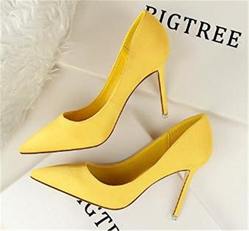 Dress coollight Toe for High Pointed Heels Ladies Yellow Party Pumps Women's Shoes nFnpvw1
