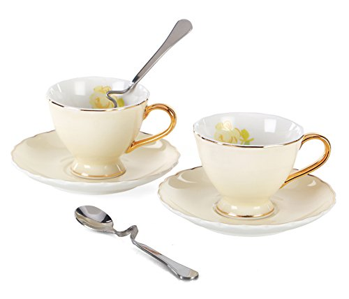 Jusalpha Porcelain Coffee Bar Espresso Cups and Saucers Set, 3-Ounce FD-TCS02 (Set of 2, Yellow) (2 Cup Saucer Sets)
