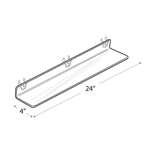 Count of 4 Retail Clear Acrylic Shelf for PEGBOARD and SLATWALL 24''w x 4''d x 2''H