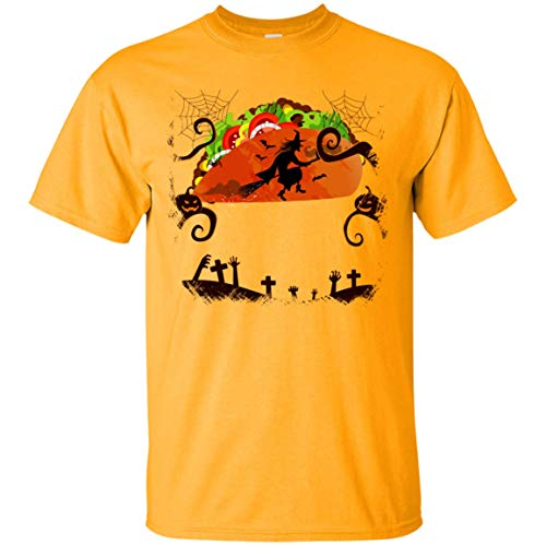 Witch Fly On The Taco Night T-Shirt - Funny Halloween Costume Taco Lovers Tee ()