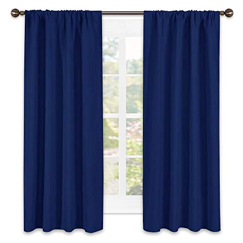 NICETOWN Navy Bedroom Curtains Blackout Draperies - All Season Thermal Insulated Solid Rod Pocket Top Blackout Curtains/Drapes for Kid's Room (1 Pair,42 x 63 Inch in Navy Blue)