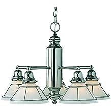 """Dolan Designs 625-09 Craftsman 5 Light Chandelier, 24"""" x 24"""" x 15.5"""", Satin Nickel"""