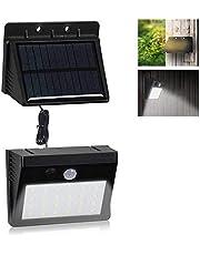VARICART Solarna lampa ścienna 6 W, 30 LED, wodoszczelna, na zewnątrz, dwuczęściowy zdejmowany panel z czujnikiem ruchu PIR, 3 tryby oświetlenia do ogrodu, garażu, piwnicy, szopy (1 sztuka)