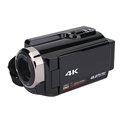 - Wal front 4K Digital Video Camera Home HD WiFi Camera 3-inch TFT LCD Screen, 270°Screen Rotation,Support 64G External Memory Card (US-Black)