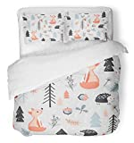 Emvency 3 Piece Duvet Cover Set Breathable Brushed Microfiber Fabric Colorful Baby Cute with Fox and Hedgehog in Forest Cartoon Style Woodland Acorn Bedding with 2 Pillow Covers Full/Queen Size