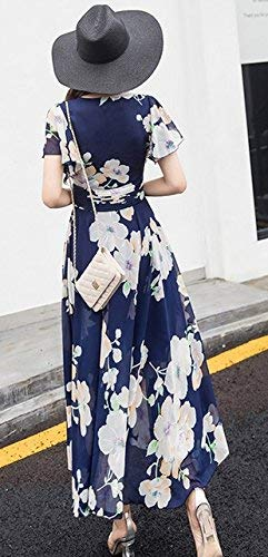 V Gasa Manga Marca Princesa De Flores Noche Corta Cóctel Una Mode Fiesta Blumen Escote Playa Damas Línea Blau En Vestido Elegante Falda 4qSqEz