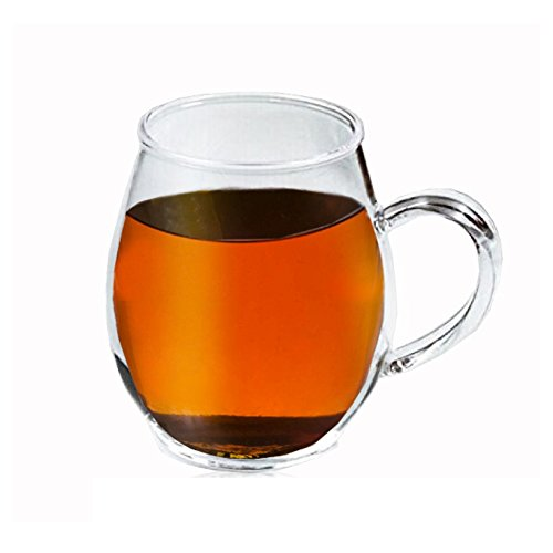 Crystal Clear Glass Coffee/Tea Mug by Sun's Tea (Tm) | 16 oz | Borosilicate - Glasses w Big Handle | Microwave and Dishwasher Safe