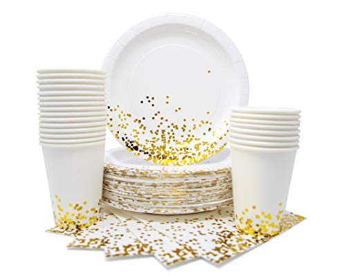Party Chic Gold Dot Disposable Paper Plates Cups and Napkins Set for 50; Gold Foil 50 Dinner Plates 50 10 oz Cups and 50…
