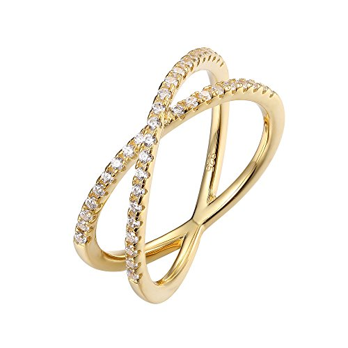 PAVOI 14K Gold Plated X Ring CZ Simulated Diamond Criss Cross Ring (9, Yellow) (Fashion Women Rings)