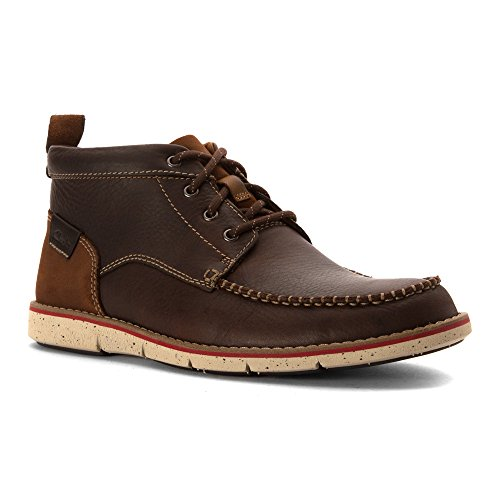 [Clarks Kyston Mid Mens Lace Up Ankle Boots Dark Brown Leather 10] (Mens Clarks Casual Boots)