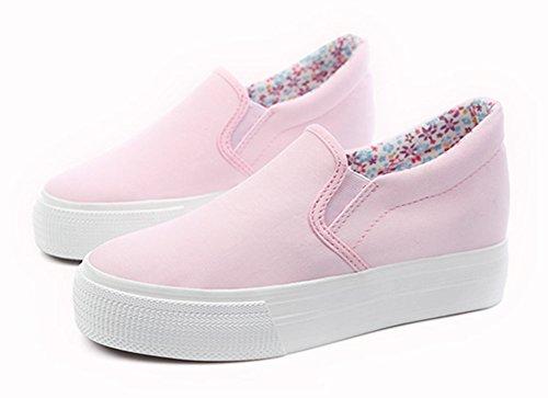 Aisun Kvinna Mode Rund Tå Tjock Sula Hiss Halka På Dolda Wedge Kanfasgymnastikskor Plattform Loafers Skor Rosa
