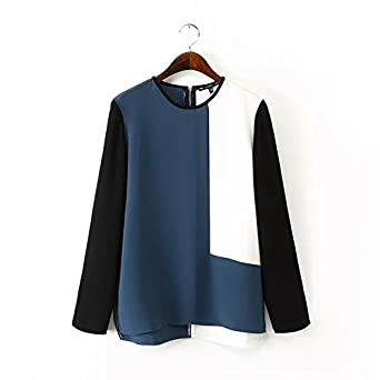 AOBILE(TM) Women contrast color chiffon blouses stylish office wear long sleeve Blusas Femininas