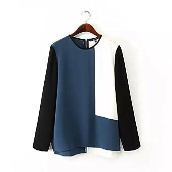 AOBILE(TM) Women contrast color chiffon blouses stylish office wear long sleeve Blusas Femininas