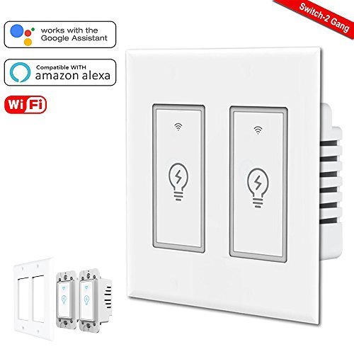 Smart Light Switch,2 Gang Wi-Fi Switch In-wall Wireless Switch Compatible With Amazon Alexa,Remote Control Your Fixtures From Anywhere,Timing Function,Overload Protection,No Hub Required